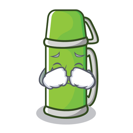 Crying thermos character cartoon style