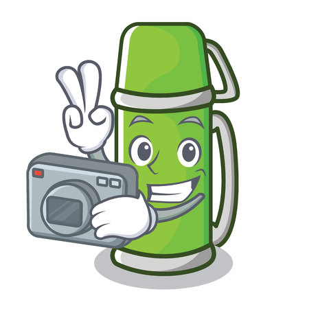 Photographer thermos character cartoon style