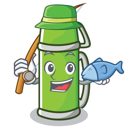 Fishing thermos character cartoon style