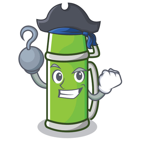 Pirate water bottle character cartoon style vector illustration