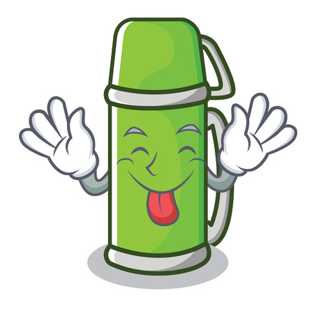 Tongue out water bottle character cartoon style vector illustration
