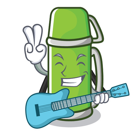 With guitar flask character cartoon style