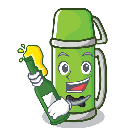 With beer water bottle character cartoon style Illustration