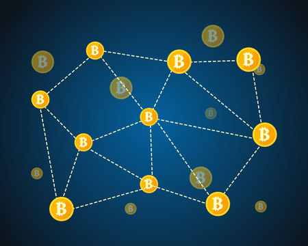Style block chain world with icons
