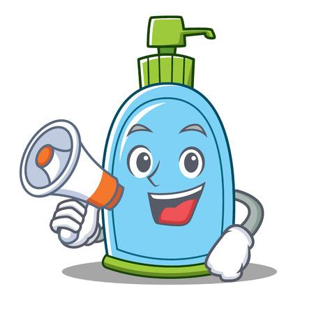 With megaphone liquid soap character cartoon Illustration
