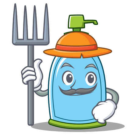 Farmer liquid soap character cartoon