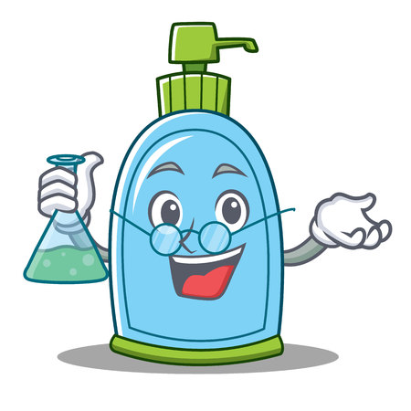 Professor liquid soap character cartoon