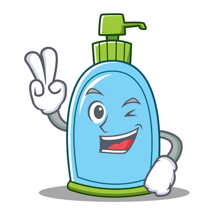 Two finger liquid soap character cartoon