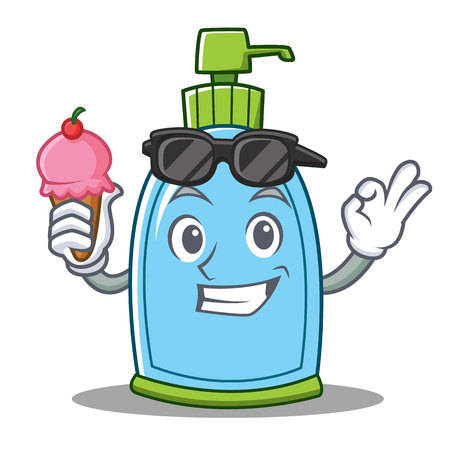 With ice cream liquid soap character cartoon Illustration