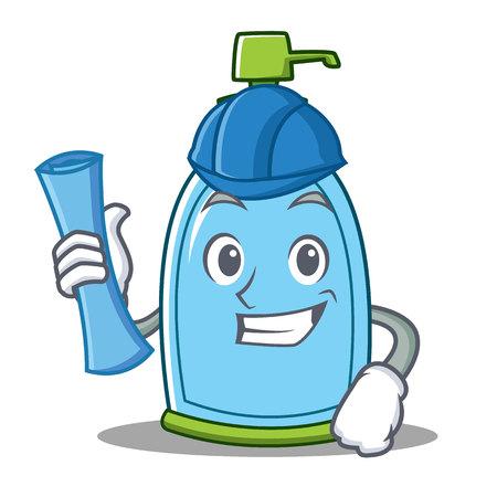 Architect liquid soap character cartoon Ilustração