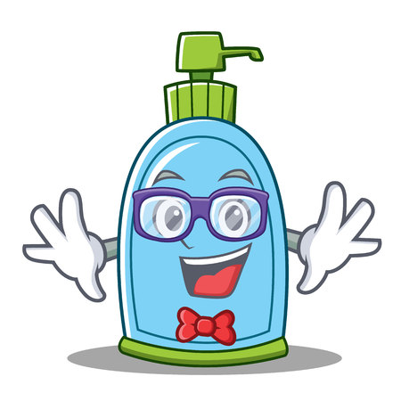 Geek liquid soap character cartoon Illustration