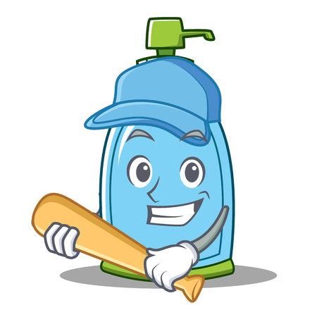 Playing baseball liquid soap character cartoon Illustration