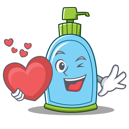 With heart liquid soap character cartoon