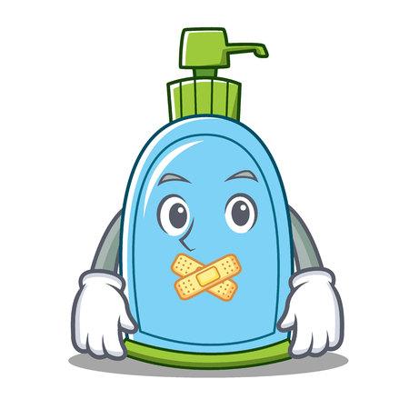 Silent liquid soap character cartoon vector illustration