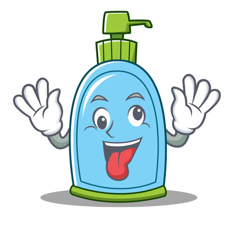 Crazy liquid soap character cartoon vector illustration