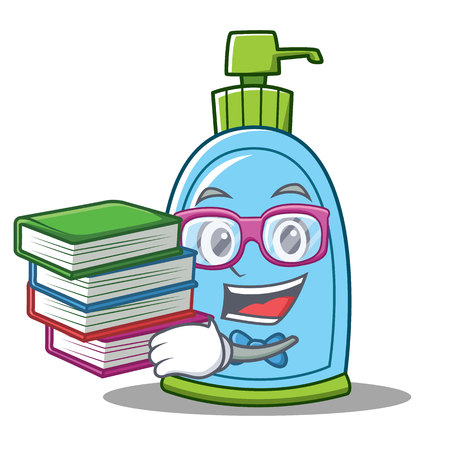 Student with book liquid soap character cartoon vector illustration
