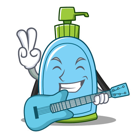 With guitar liquid soap character cartoon