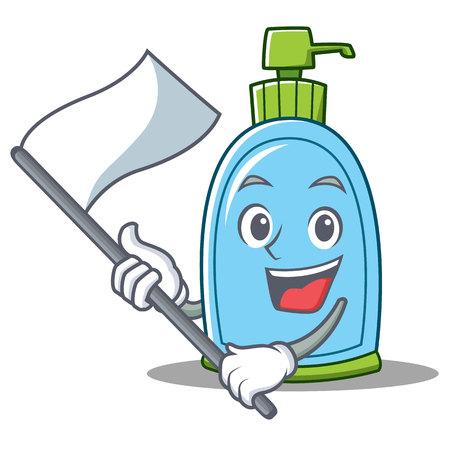 With flag liquid soap character cartoon