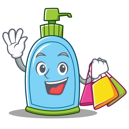 Shopping liquid soap character cartoon