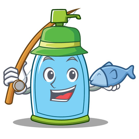 Fishing liquid soap character cartoon Stock Photo