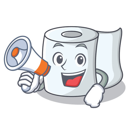 With megaphone tissue character cartoon style vector illustration