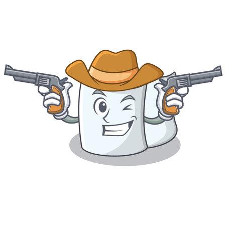 Cowboy tissue character cartoon style vector illustration