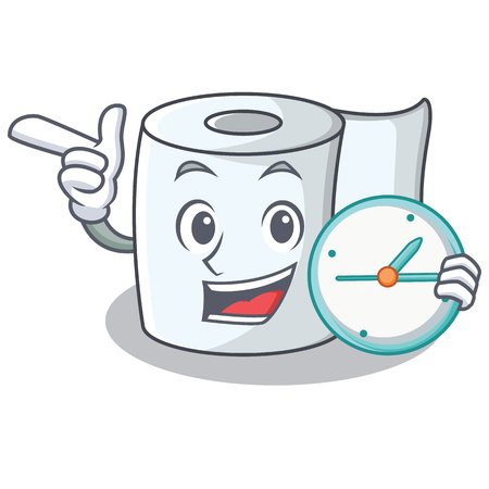 With clock tissue character cartoon style