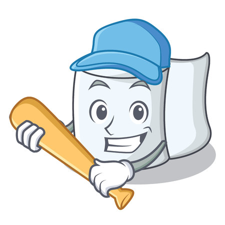 Playing baseball tissue character cartoon style Illustration