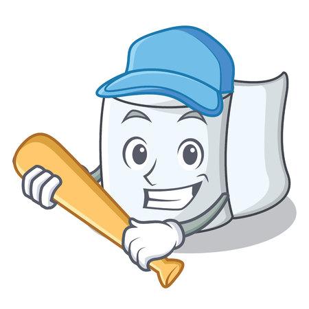 Playing baseball tissue character cartoon style Vettoriali