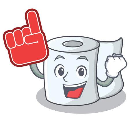 Foam finger tissue character cartoon style.