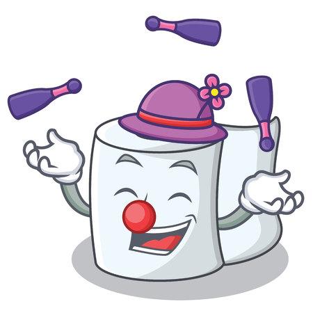 Juggling tissue character cartoon style. Stock Illustratie