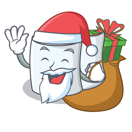 Santa with gift tissue character cartoon style Illustration