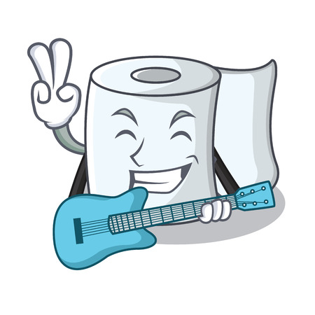 With guitar tissue character cartoon style