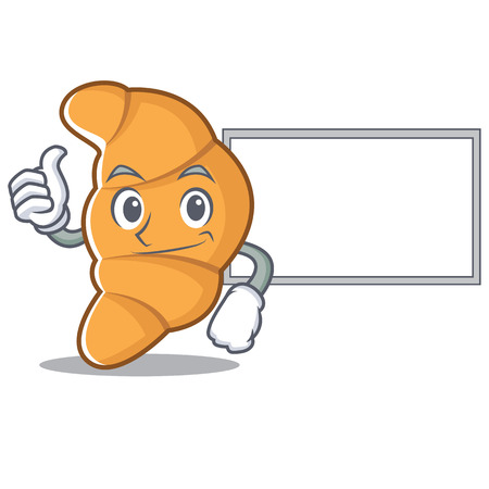 Thumbs up with board croissant character cartoon style