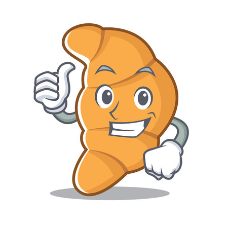 Thumbs up croissant character cartoon style illustration.