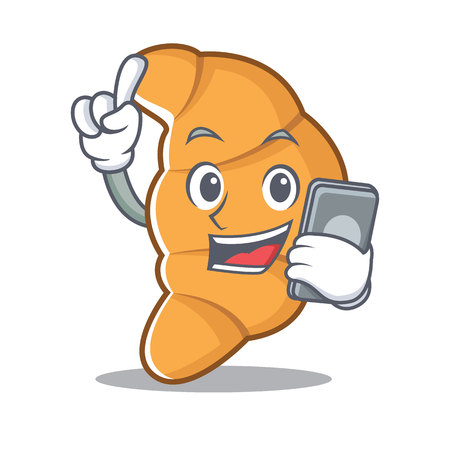 With phone croissant character cartoon style vector illustartion Illustration