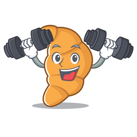 Fitness croissant character cartoon style vector illustartion Illustration