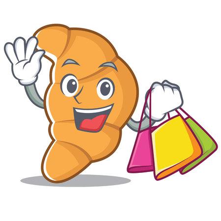 Shopping croissant character cartoon style vector illustartion Illustration