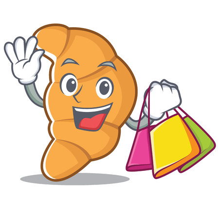 Shopping croissant character cartoon style vector illustartion Çizim