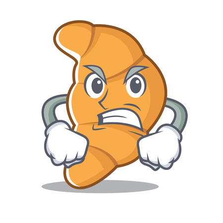 Angry croissant character cartoon style  illustration