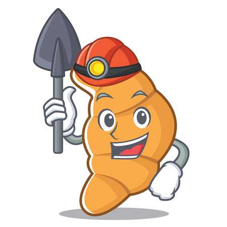 Miner croissant character cartoon style