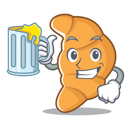 With juice or beer,  croissant character cartoon style