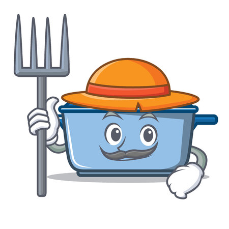 Farmer kitchen pan  character cartoon style Illustration
