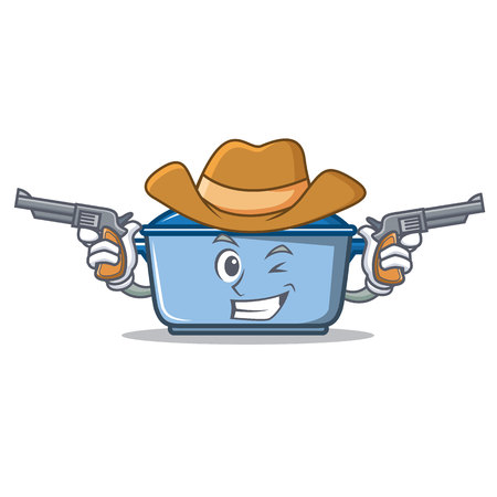 Cowboy kitchen pan character cartoon style