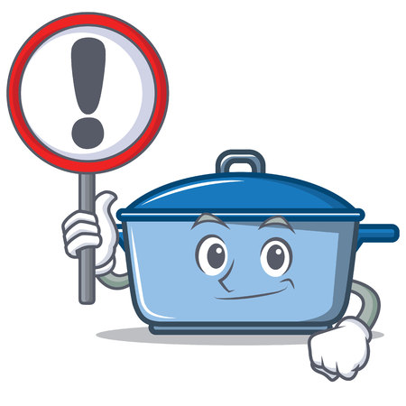 With warning sign kitchen pan character cartoon style