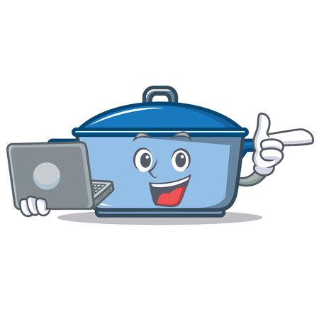 With laptop kitchen pan  character cartoon style Illustration