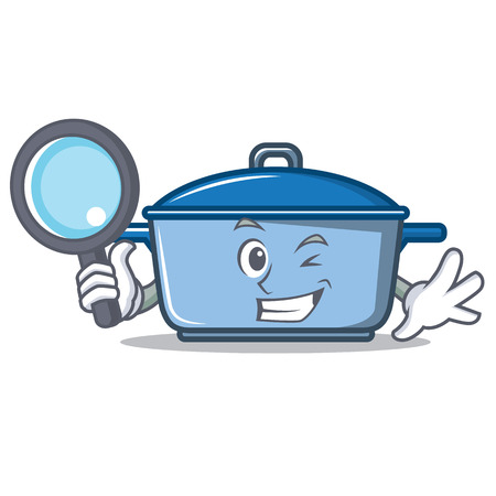 Detective kitchen pan character cartoon style
