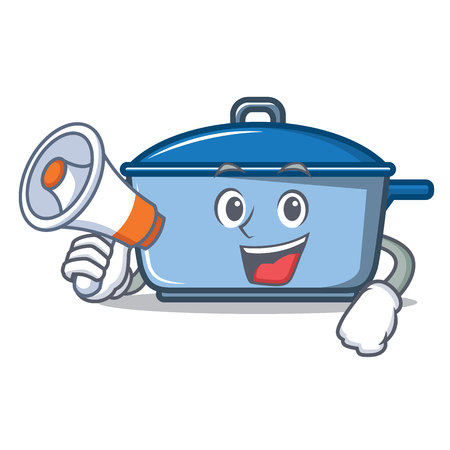With megaphone kitchen pan character cartoon style Illustration