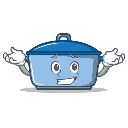 Grinning kitchen pan character cartoon style