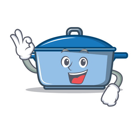 Okay kitchen pan character cartoon style Illustration